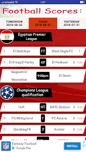 screenshot of Live Football Scores version 1.5
