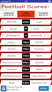 screenshot of Live Football Scores version 1.7