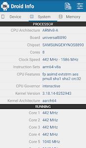 screenshot of Droid Hardware Info version 1.2.2