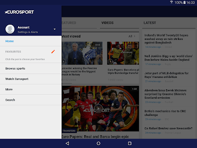 screenshot of Eurosport version 5.1.3