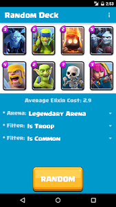 screenshot of Random Clash Royale Deck version 1.12