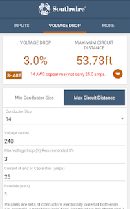 screenshot of Southwire Voltage Drop version 2.1.2